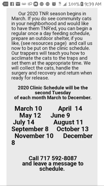 Derry Township (PA) Community Cats – Free Spay/Neuter Clinics