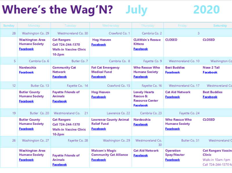 Fix'n Wag'n July 2020 Mobile Spay.Neuter Clinics List (Penn)